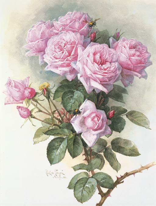 Paul de Longpré - Roses and Bumblebees 1899