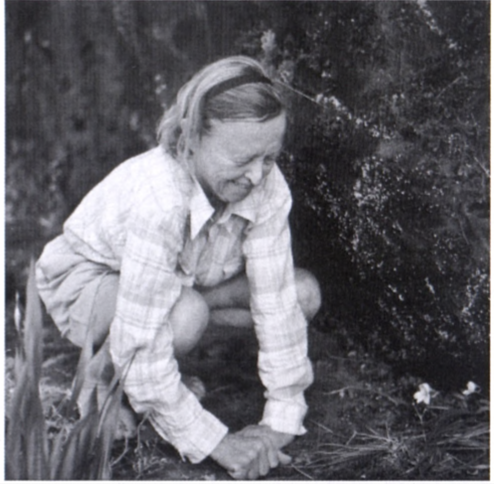 Elsie Esterhuysen with the orchid, Disa longicornu, on Table Mountain (date unknown, photograph by M. Burger).