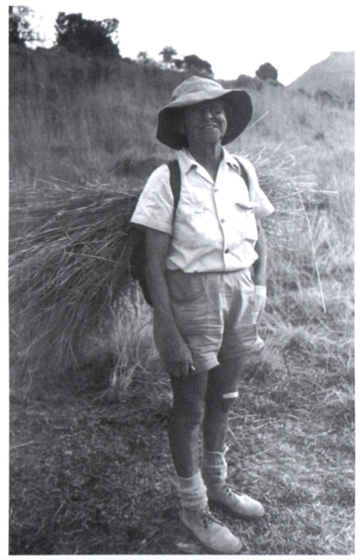 Elsie Esterhuysen in the Drakensberg with a load o f grass bedding for the night in July 1982 (photograph courtesy o f Bolus Herbarium
