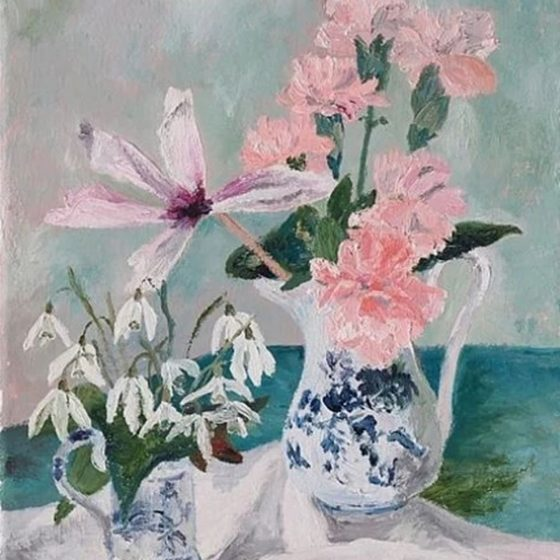 Carnations and Snowdrops by Marie LuisaHlobilová