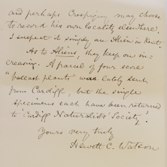 Hewett Cottrell Watson's letter to Charles Darwin