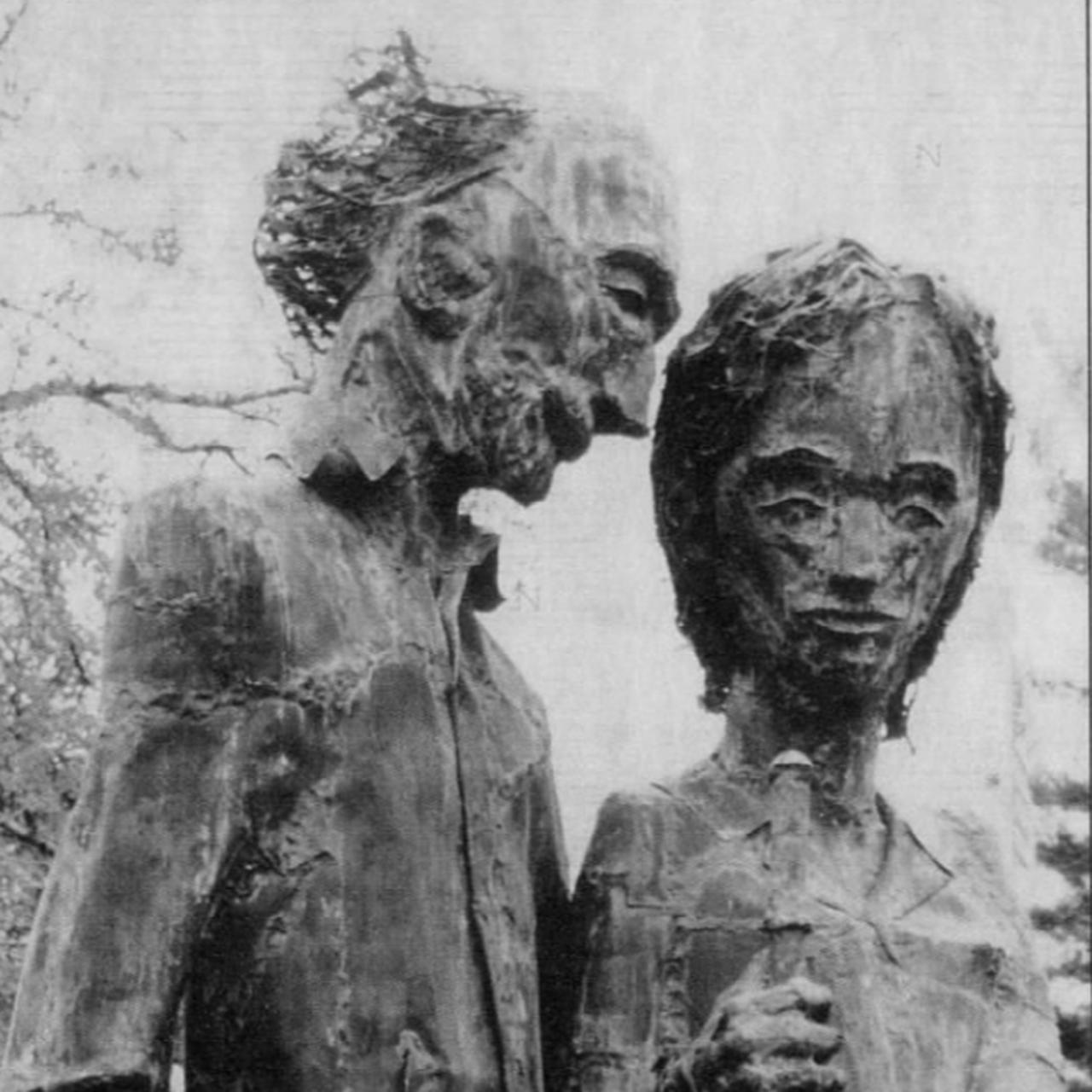 Robert and Frances Bickelhaupt copper statute _The Arborists_